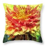 Watercolor Of Dreamy Dahlia Throw Pillow