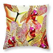 Watercolor Orchid Shadows Throw Pillow