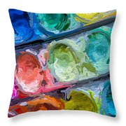 Watercolor Ovals Two Throw Pillow
