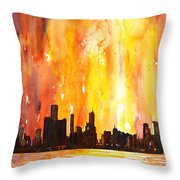 Watercolor Painting Of Skycrapers Of Downtown Chicago As Viewed  Throw Pillow