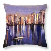 Watercolor Painting Of Vancouver Skyline Throw Pillow