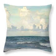 Watercolor Photograph Of Atlantic Ocean Throw Pillow