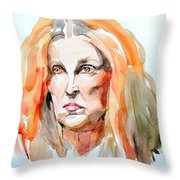 Watercolor Portrait Of A Mad Redhead Throw Pillow