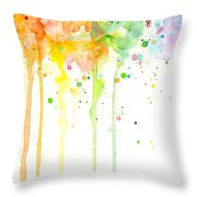 Watercolor Rainbow Throw Pillow