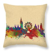 Watercolor Skyline Of London Throw Pillow