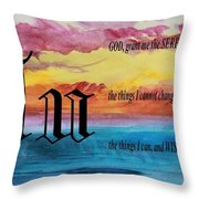 Watercolor U And Serenity Prayer Throw Pillow