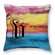 Watercolor V And Serenity Prayer Throw Pillow