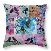 Watercolour Birds Throw Pillow