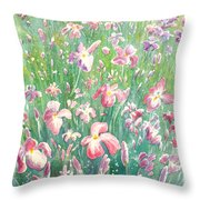 Watercolour Of Pink Iris's In A Green Field Throw Pillow