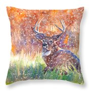Watercolour Painting Of A Stag In The Snow Throw Pillow