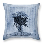 Watercolour Tulips In Blue Throw Pillow