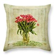 Watercolour Tulips Throw Pillow by John Edwards