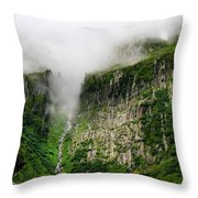 Waterfall And Clouds Throw Pillow