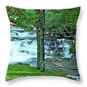 Waterfall And Hammock In Summer 2 Throw Pillow