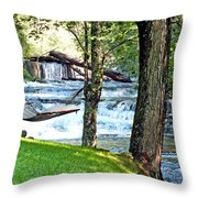 Waterfall And Hammock In Summer 3 Throw Pillow
