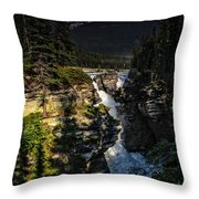 Waterfall And Mountain In Jasper Throw Pillow