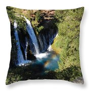 Waterfall And Rainbow 2 Throw Pillow