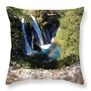 Waterfall And Rainbow 3 Throw Pillow