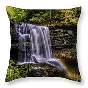 Waterfall And Rainbow Throw Pillow