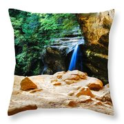 Waterfall At Cliff Side Throw Pillow