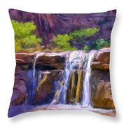 Waterfall At Coyote Creek Throw Pillow