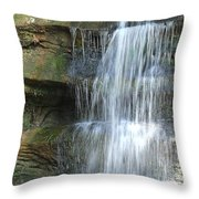 Waterfall At Old Man's Cave Throw Pillow