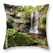 Waterfall At Roughting Linn Throw Pillow