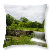 Waterfall At Valley Creek Near Valley Forge Throw Pillow