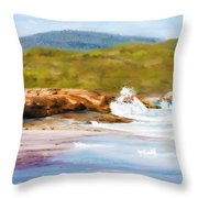 Waterfall Beach Denmark Painting Throw Pillow