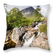 Waterfall Below Stob Dearg Throw Pillow