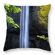 Waterfall In A Forest, Latourell Falls Throw Pillow