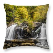 Waterfall In Autumn Throw Pillow