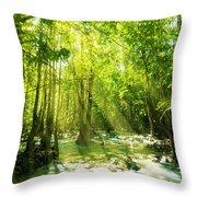 Waterfall In Rainforest Throw Pillow