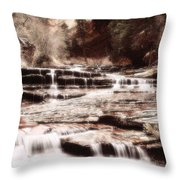Waterfall In Sepia Throw Pillow