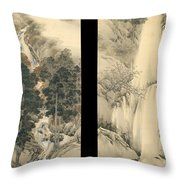 Waterfall In Spring And Autumn Throw Pillow