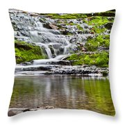Waterfall In The Forest In Autumn Season  Throw Pillow