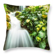 Waterfall In The Hosta Throw Pillow