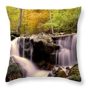 Waterfall In The Mountain Throw Pillow