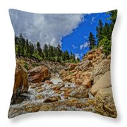 Waterfall In The Rockies Throw Pillow