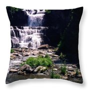Waterfall Into The Stream Throw Pillow