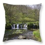Waterfall Lathkill Dale Derbyshire Throw Pillow