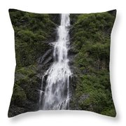 Waterfall Near Valdez Ak Throw Pillow