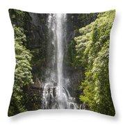 Waterfall On The Road To Hana Throw Pillow