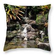 Waterfall On The Rocks Throw Pillow