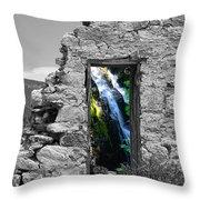Waterfall Through The Magic Door Throw Pillow