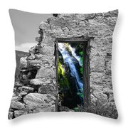 Waterfall Through The Magic Door Throw Pillow