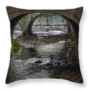 Waterfall Under Railroad Tracks Throw Pillow
