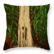 Waterfall With Polar Bears Throw Pillow