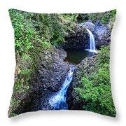 Waterfalls And Pools Maui Hawaii Throw Pillow