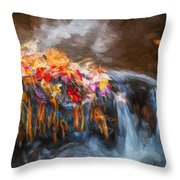 Waterfalls Childs National Park Painted  Throw Pillow